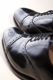 Closeup of Brand New Fashionable Male Classic Oxford Semi-Brogue Stock Photo