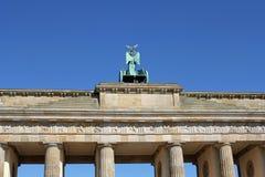 Closeup of Brandenburg gate in Berlin, Germany. Brandenburg gate against blue sky in Berlin, Germany stock photography