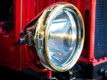 Closeup of brass headlight with glass Royalty Free Stock Photo