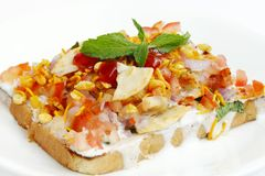 Closeup bread topping with dahi & mixture Royalty Free Stock Photo