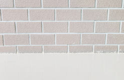 Closeup brick pattern at brick wall with marble stone floor textured background Stock Photos