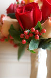 Closeup Of Bridal Wedding Bouquet. With red and orange roses Stock Photography