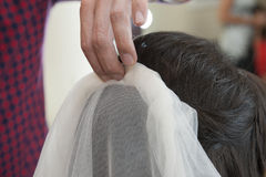 Closeup of bridal womens hair styling Stock Photo