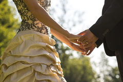 Closeup of bride and groom facing each other holding hands Royalty Free Stock Photo