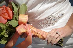 Closeup of Bride Holding Bouquet Royalty Free Stock Photography