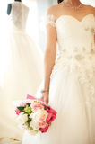 Closeup of the bride holding a wedding bouquet. Closeup of the bride holding a wedding: bouquet wedding white woman wonderful young Royalty Free Stock Photography