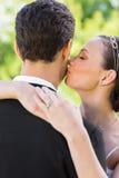 Closeup of bride kissing groom on cheek Stock Photos