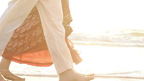 Closeup Bride in Long Groom Walk Barefoot in Shallow Water stock video footage