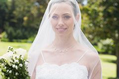 Closeup of bride wearing veil in garden Royalty Free Stock Photos