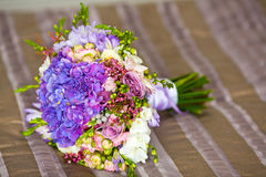 Closeup of brides flowers on wedding day Royalty Free Stock Photos