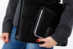 Closeup briefcase and business accessories Royalty Free Stock Images