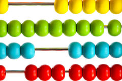 Closeup of bright  abacus beads on white Stock Photo