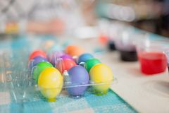 Closeup of bright and colorful Easter eggs royalty free stock images