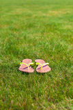 Closeup of bright flip flops on green grass Stock Photography