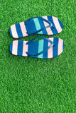 Closeup of bright flip flops on green grass Royalty Free Stock Photography