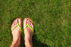 Closeup of bright flip flops and legs on green Stock Photography