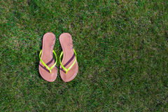 Closeup of bright flip flops and legs on green Stock Image