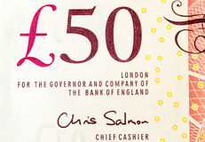 Closeup of a British Fifty Pound Note stock photography