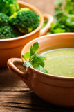 Closeup of broccoli soup with parsley Royalty Free Stock Image