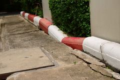 Break. Closeup of broken curb of street, break concept stock photos