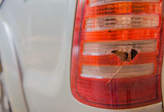 Closeup broken rear light   at back car Stock Photos