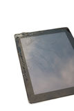 Closeup broken touch screen of tablet. Stock Photo