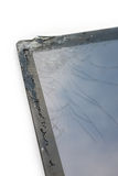 Closeup broken touch screen of tablet. Royalty Free Stock Image