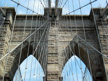 Closeup of the Brooklyn Bridge Western Tower. Royalty Free Stock Images