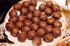 Closeup brown chocolate candy background Stock Image