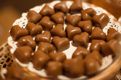 Closeup brown chocolate candy background Stock Images