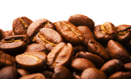 Closeup of brown coffee beans Royalty Free Stock Photos