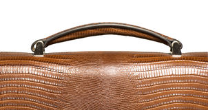 Closeup of brown leather handbag handle Stock Photos