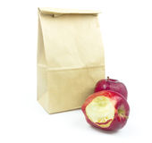 Closeup of Brown paper lunch bag Royalty Free Stock Photos