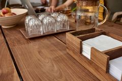 Wooden table in cafe Royalty Free Stock Image