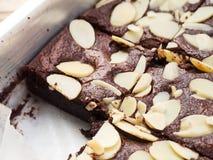 Closeup brownies in baking tray. Stock Photo
