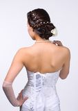Closeup of brunette bride hairstyle in studio Royalty Free Stock Photos