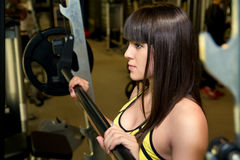 Closeup brunette in the gym. Stock Photos