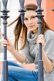 Closeup of a brunette in the park. Closeup of a nice brunette woman in the park royalty free stock photo