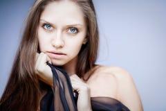 Closeup brunette portrait royalty free stock photography