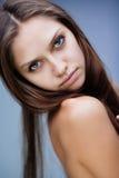 Closeup brunette portrait stock image