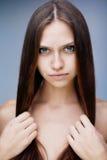 Closeup brunette portrait stock images