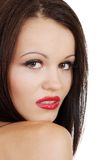 Closeup of a brunette woman with red lipstick Royalty Free Stock Photography