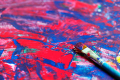 Closeup of brush and palette Royalty Free Stock Photography