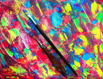 Closeup of brush and palette Royalty Free Stock Images