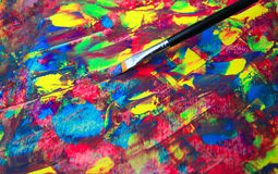 Closeup of brush and palette Royalty Free Stock Image