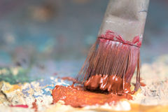 Closeup of brush and palette. Royalty Free Stock Photos