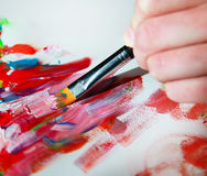 Closeup of brush and palette Stock Photos