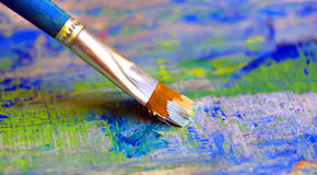 Closeup of brush and palette. Royalty Free Stock Images