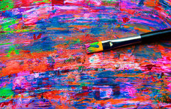 Closeup of brush and palette Stock Photography