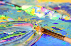 Closeup of brush and palette. Royalty Free Stock Image